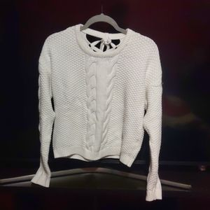 White too open backed sweater